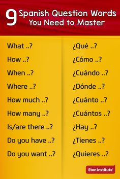 9 Spanish question words you need to master. 9 Spanish question words you need to master. Spanish Help, Spanish Notes, Spanish Lessons For Kids, Learn To Speak Spanish, Spanish Basics, Spanish English, Spanish Art, Spanish Lesson Plans, Spanish Class