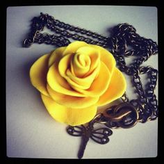 Beautiful Handmade Rose pendant with dragonfly charm by MAYOULEE   Accessories    Email Mayoulee@yahoo.com for details