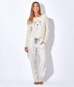 Pyjama 3 pièces, veste polaire toucher peluche, haut ours - BEARY - GRIS / BLANC - Etam