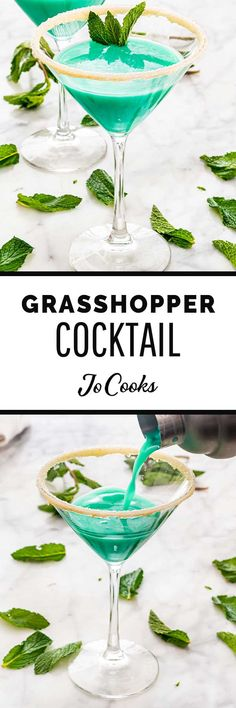 This Grasshopper Cocktail is a fun bright green dessert-style cocktail with notes of chocolate and mint. Made with fresh cream crème de menthe and white crème de cacao. Mint Ice Cream, Fresh Cream, Melting Chocolate Chips, Mint Chocolate Chips, Easy Drink Recipes, Cocktail Recipes, Sweets Recipes, Meringue Topping Recipe