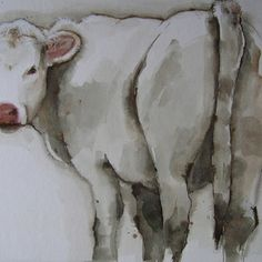 Watercolour calf by Marie-Helene Stokkink