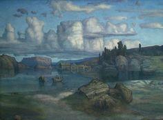 by Lars Hertervig Scandinavian Paintings, Scandinavian Art, Landscape Art, Landscape Paintings, Western Coast, Nordic Art, Plastic Art, Canadian Art, Beautiful Sky