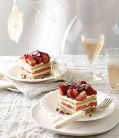 Australian Gourmet Traveller recipe for strawberry and watermelon cake by Black Star Pastry in Sydney.