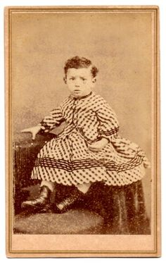 CDV 1860s Civil War Era Little Boy in Dress San Francisco CA Bradley Rulofson | eBay