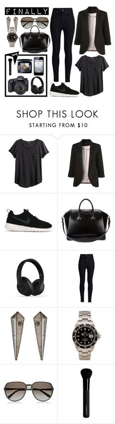 """""""Last working day of the year!"""" by itskellywilliams ❤ liked on Polyvore featuring H&M, WithChic, NIKE, Givenchy, Beats by Dr. Dre, Rodarte, Citrine by the Stones, Rolex, Eos and Christian Dior"""