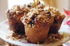 Blueberry muffin with crumble on top. All organic,  gluten & lactose free.