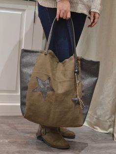 Sac cabas fait main avec étoiles toile de lin kaki et simili cuir gris anthracite pailleté marque française Nature et Lin