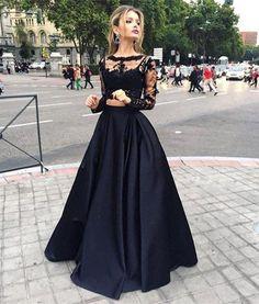 Hot Sale schwarz billig zwei Stücke prom Kleider nur $ 69 schiere lange Ärmel Spitze Top Satin eine Linie bodenlangen Abendkleider