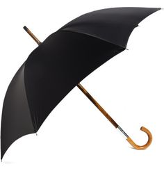 Long Malacca wood umbrella with black canopy from Swaine Adeney Brigg featuring a detachable handle, revealing a glass drinking flask with rubber stopper concealed in the body. Every gentleman needs a refresher after a hard day, this expertly crafted accessory guarantees you'll never be caught short.