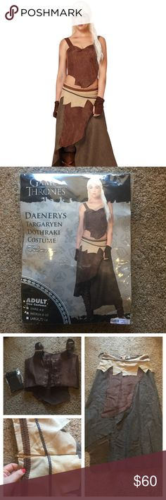 NWT! Daenerys Targaryen Dothraki Costume  NEW IN BAG! NEVER worn Daenerys Targaryen Dothraki Costume. Bought 2 years ago from Spirit Halloween; they do NOT carry this costume anymore! Represent the Khaleesi of Dragons  with this badass costume!  Pckg. includes lace up top (side zipper), wrist wraps, and skirt (back zipper). Material is suede and burlap. Size S fits 4-6; Size M fits 8-10. Visit SpiritHalloween.com for measurement questions. Price is FIRM, lower offers NOT ACCEPTED.  trades…