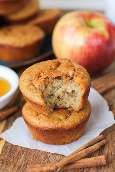 Grain-Free Apple Cinnamon Muffins - naturally sweetened and gluten-free, made with @BobsRedMill almond flour and tapioca flour | TheRoastedRoot.net #healthy #breakfast #recipe #paleo