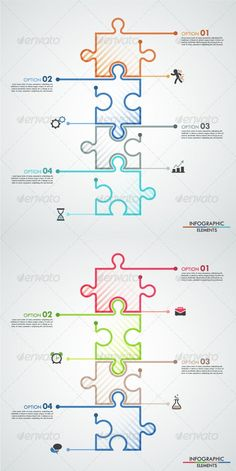 Buy Minimal Infographic Template With Colors) by Andrew_Kras on GraphicRiver. Minimal infographic options template with 4 color puzzle elements in line style. Can be used for web design a. Web Design, Book Design, Design Trends, Timeline Design, Newspaper Design, Poster Layout, Information Design, Infographic Templates, Infographics Design