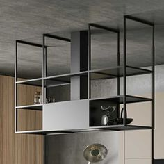 Style is a modern modular kitchen with a versatile design. This composition is dominated by an operative island, with a laminate top, table height faux wood snack counter and an aluminium structure with an integrated exhaust hood. Kitchen Shelves, Kitchen Pantry, New Kitchen, Kitchen Decor, Contemporary Kitchen Design, Interior Design Kitchen, Double Island Kitchen, Moraira, Kitchen Hoods