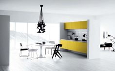Cucina di lusso moderna con dettagli gialli