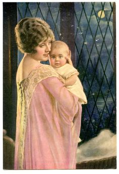 """Vintage 1920's - 1930's Print of a """"Mother Holding Her Baby"""" -- 5 3/4"""" x 8 1/2"""""""