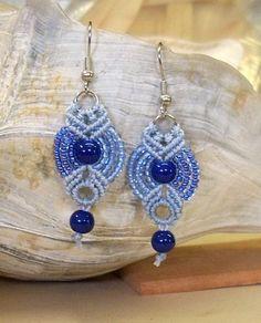 Blue Morning Micro Macrame Earrings