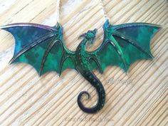 Dragon Necklace, Handmade, Blue Purple, Acrylic & Acetate, rich colour transparent iridescent Dragon with silver plated chain necklace Dragon Bracelet, Dragon Necklace, Dragon Jewelry, Polymer Clay Animals, Polymer Clay Crafts, Polymer Clay Jewelry, Dragon Crafts, Dragon Art, Fantasy Jewelry