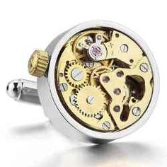 Men's Rhodium Plated Cufflinks. Watch movements actually work - just wind it up! - Steampunk vintage ( with black, velvet-like gift bag ). Get them for only $69.99 at http://christmasgiftsformen.professorsopportunities.com/mens-rhodium-plated-cufflinks/