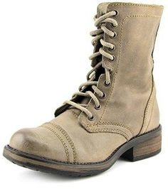 Steve Madden Tropa 2-0 Women Round Toe Leather Gray Mid Calf Boot.
