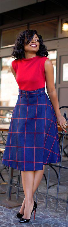 Fall Work Style: Plaid Midi Skirt / Fashion By Jadore-Fashion