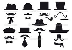 Mustache and hats, vector set — Stock Vector © beaubelle #
