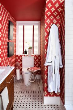 Small Bathroom Renovation - eclectic - bathroom - dc metro - by Christopher Patrick Interiors Eclectic Bathroom, Bathroom Red, Bathroom Styling, Bathroom Ideas, Bathroom Small, Downstairs Bathroom, Wallpaper For Small Bathrooms, Bathroom Wallpaper, Decoration Wc Deco