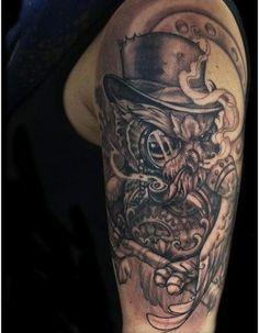 punk owl tattoo