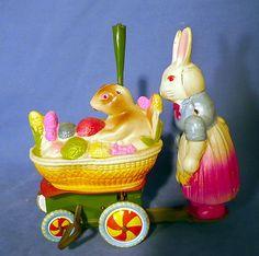 Antique Vintage Japan Celluloid Tin Toy Windup Bunnies w Easter Basket   eBay