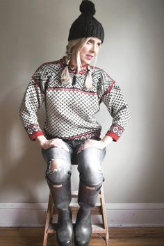 Vintage Dale of Norway Sweater - Norwegian Fair Isle Sweater - Red White Black - Womens Size 10 #thriftymartusa #scandinavian