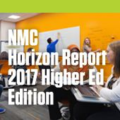 The NMC Horizon Report > 2017 Higher Education Edition describes annual findings from the NMC Horizon Project, an ongoing research project designed to identify and describe emerging technologies likely to have an impact on learning, teaching, and creative inquiry in education. Six key trends, six significant challenges, and six important developments in educational technology are placed directly in the context of their likely impact on the core missions of universities and colleges.