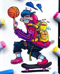 Cute Doodle Art, Doodle Art Designs, Doodle Art Drawing, Cool Art Drawings, Cute Art, Dope Cartoon Art, Cartoon Kunst, Cartoon Drawings, Graffiti Art