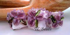 Violet Vodka Floral Garden Handmade Lampwork Glass Bead by TLBeads, $23.00