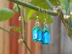 Enameled metal bluebell earrings bright blue turquoise aqua blue rose