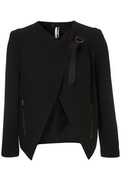 love the twist on this classic black tuxedo style blazer.