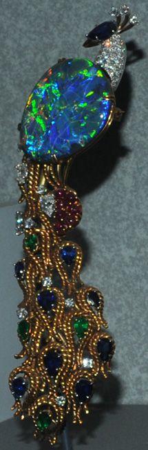15cm peacock with opal, diamond and corundum ; features a 32 carat lightening ridge opal