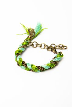 Braid Strands of Mint + Green Embroidery Floss Together with Chains - Oversized Braid Friendship Bracelet