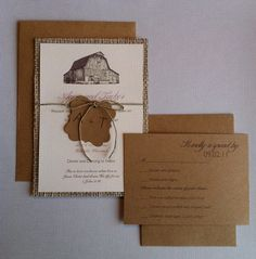 Rustic barn burlap wedding invitations with tag (RSVP cards included)