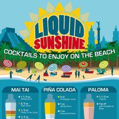 Mojito, Strawberry Daiquiri, Caipirinha, and more... 15 recipes for easy-to-homemake beach drinks. Tips for summer alcoholic drinks, summer tips.