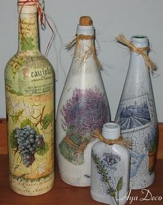 Decoupage bottles...By: Ayadeco.pl
