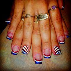 July 4th Nails Designs, Holiday Nail Designs, 4th Of July Nails, Holiday Nails, Acrylic Nail Art, Acrylic Nail Designs, Nail Art Designs, Love Nails, Pretty Nails