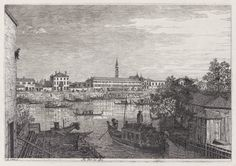 Giovanni Antonio Canal, called Canaletto, Italian, Venice, 1697–1768 Ale Porte del Dolo (At the Locks of Dolo), from the Vedute (Views)  1741–44 Etching plate: 28.32 x 43.43 cm (11 1/8 x 17 1/8 in.) The Arthur Ross Collection 2012.159.6.5