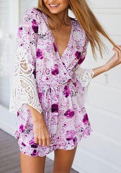 Flared Plunge Floral Dress