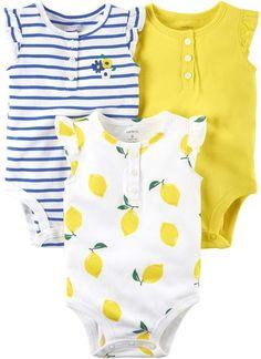 84412c57ea Carter's Baby Girl 3-Pack Lemon Yellow Bodysuits Lemon Yellow, Carters Baby  Clothes,
