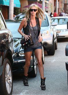 Nicky Hilton wears #denim shorts + #leather #gilet, nice street style!