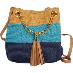 Magid Paper Straw Color Block Mini Tassel Shoulder Bag - Blue/Multi - Shoulder Bags
