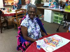 The one and only, Jennie! All smiles after enjoying an island themed lunch. Notice her beautiful lei?     Aspen Senior Center (Utah) http://aspenseniorcenter.com/