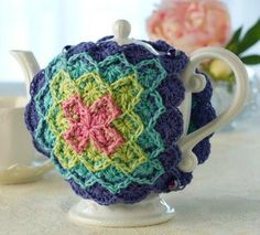 Crochet World April 2013 Patterns Baby Cocoon Jungle Rings Afghans Tea Cozy Wrap Crochet World, Crochet Home, Knit Or Crochet, Crochet Kitchen, Bavarian Crochet, Teapot Cover, Knitted Tea Cosies, Tea Cozy, Coffee Cozy