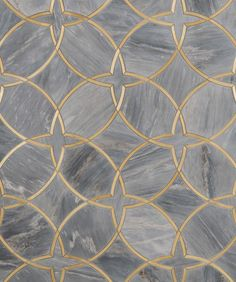 """Moscow Grande Borealis Blue and Brass - this is a large pattern - this image shows 30x36"""" sample"""