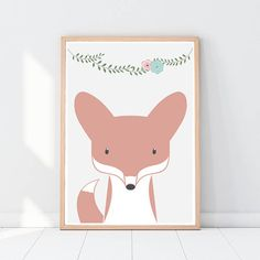 Fox Woodland nursery decor Woodland animals Floral design