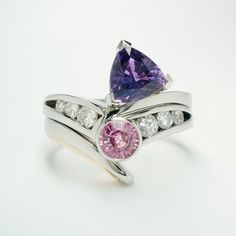 Purple trilliant sapphire and diamond ring fitting with round pink sapphire and diamond 4 stone ring. Purple Sapphire, Sapphire Diamond, Dress Rings, Eternity Ring, Stone Rings, Heart Ring, Bangles, Wedding Rings, Engagement Rings